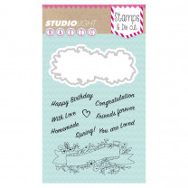Stamp & Die cut, Tekst banner BASIC, A6 / 105 x 148 mm, 10 - teilig