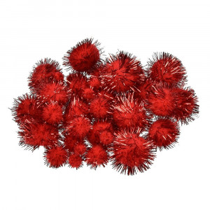 Pompons, für Dekorationen ,10, 15, 20, 25 mm, 40 Stk., rot metallic