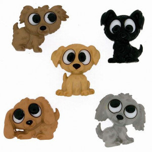 Knopf, Playful Puppies, ca. 17 x 21 - 22 x 17 mm, 5 Stk., bunt