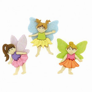 Knopf, Flower Fairies, ca. 20 x 33 - 25 x 30 mm, 3 Stk., bunt