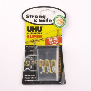 UHU, ALLESKLEBER SUPER, Strong & Safe MINIS, 3 x 1 g