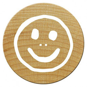 Mini Woodies Stempel, Smiley, ø 15 mm,